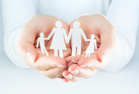 expresses: hands woman expresses the concept of family  Stock Photo
