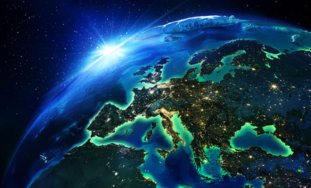 satellite view: land area in Europe the night