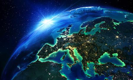 Landfläche in Europa die Nacht