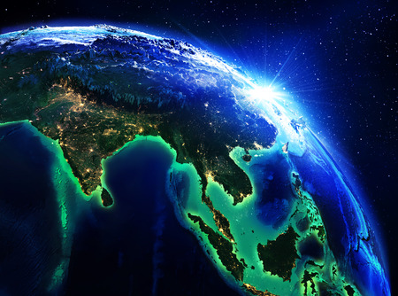 land area in India, China and Indonesia the night  photo