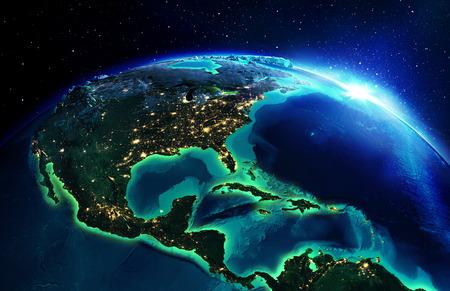área de tierra en América del Norte la noche