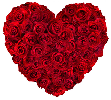 bunch of red roses: Heart of red roses