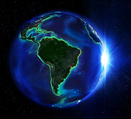 south space: land area in Brazil the night