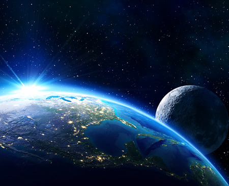 米国、地平線および月を地球します。