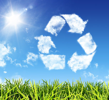 cloud-vormige pictogram recycling Stockfoto