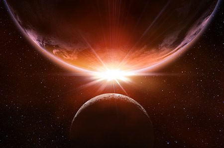 planetary eclipse in the space Stock Photo