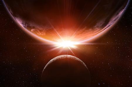 planetarnych: planetary eclipse in the space Zdjęcie Seryjne