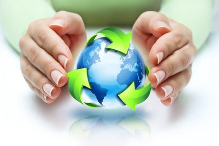 reciclar: reciclaje proteger el planeta Foto de archivo