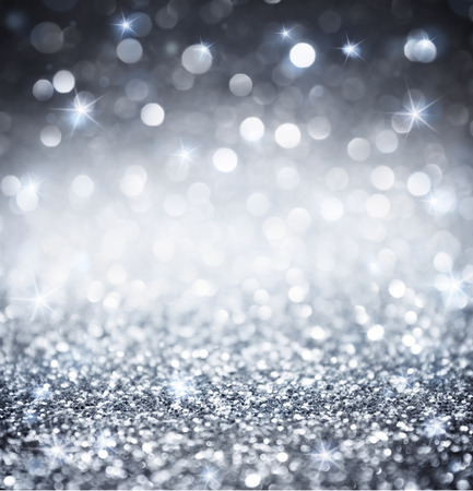 silver stars: silver glitter - shiny wallpapers for Christmas Stock Photo
