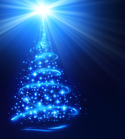 blue christmas: christmas tree with shining star