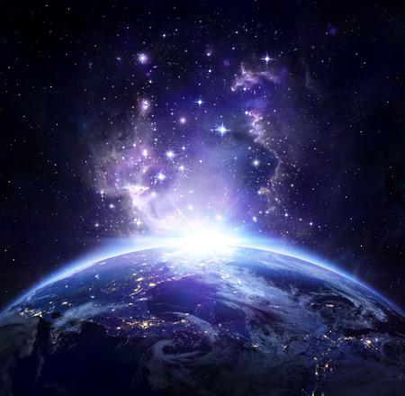 Earth-weergave vanuit de ruimte 's nachts - US Stockfoto - 33053520