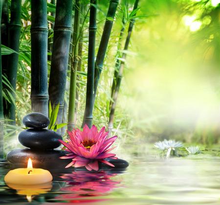 Massage in der Natur - Lilie, Steine, Bambus - Zen-Konzept