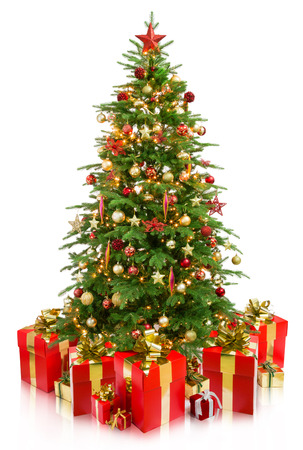 tree decorations: christmas tree with gifts
