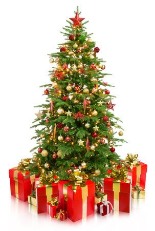 kerstboom met geschenken Stockfoto