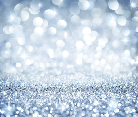 background lights: christmas background - shining glitter - heaven silver Stock Photo