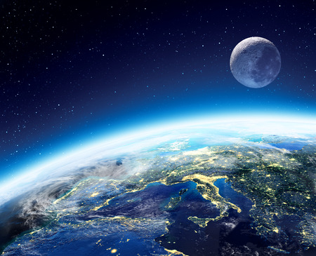Earth and moon view from space at night - Europe