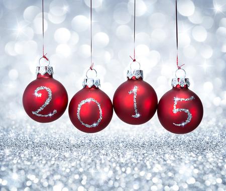wesolych swiat: Szczęśliwego nowego roku 2015 z czerwonymi kulkami xmas