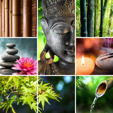 zen candles: oriental culture - mosaic with Buddha Stock Photo