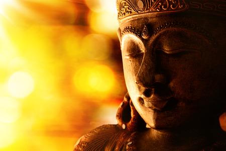 buddhist meditation: bronze buddha statue
