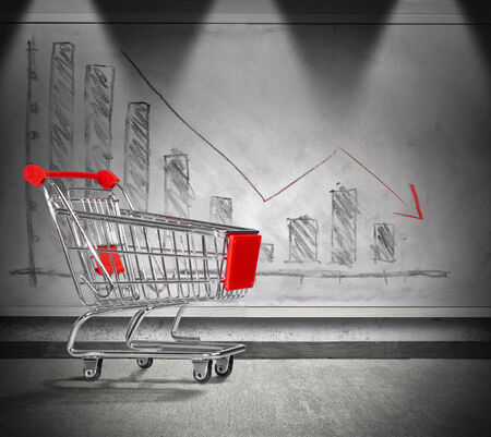 downturn: empty cart, crisis of home finance - charting in decrease