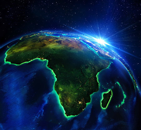 and south: land area in Africa, the night Stock Photo