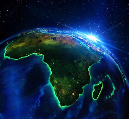 wereldbol: landoppervlak in Afrika, de nacht