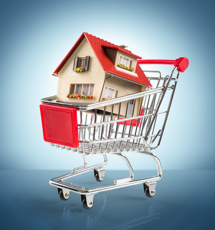 shoppingcart: house in shopping-cart - in blue Stock Photo