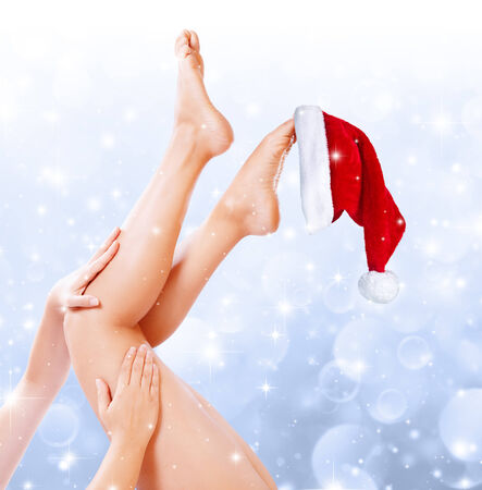 spa treatment: legs beauty treatment of christmas