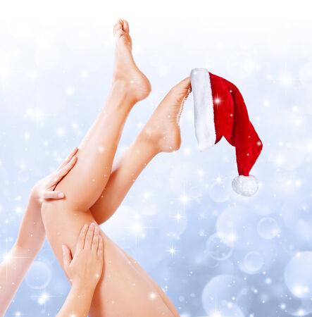 mujer celulitis: piernas tratamiento de belleza de navidad
