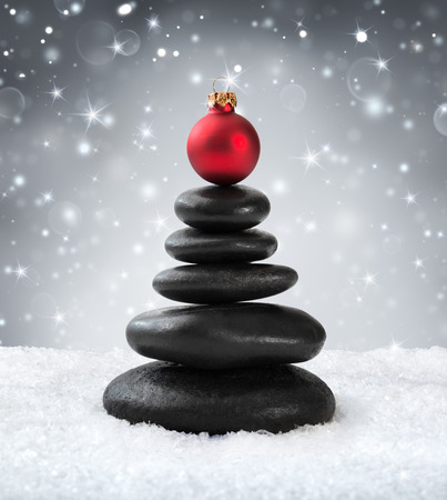 zen: spa stones - in christmas Stock Photo