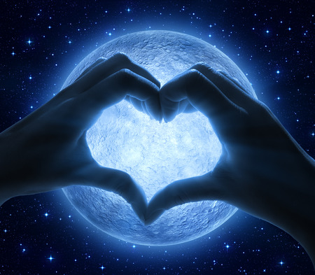 love: love and moon Stock Photo