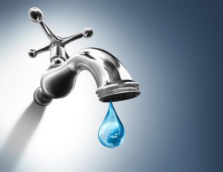 Planeet in water drop - water behoud concept - Europa