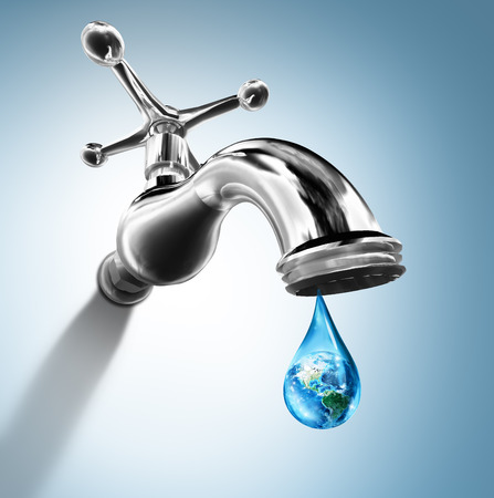 faucet water: Planet in water drop - water conservation concept - Usa