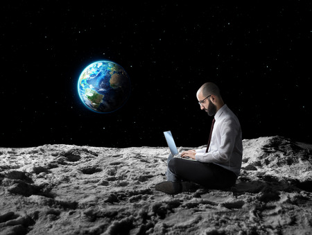 moon surface: remote work or global wi-fi internet connection