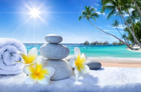 piedras zen: tratamiento de spa en la playa tropical