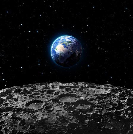 달 표면에서 지구보기 - 유럽 스톡 콘텐츠