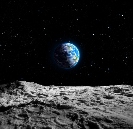landing: Views of Earth from the moon surface Stock Photo