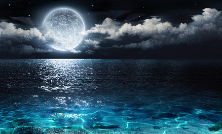 blue sea: romantic and scenic panorama with full moon on sea to night