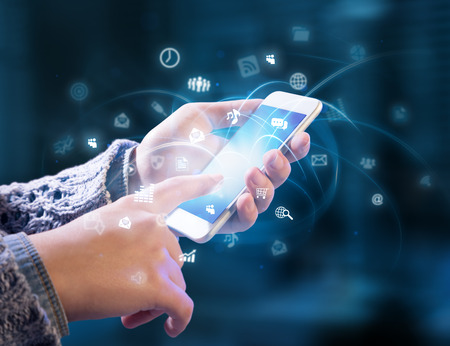 technik: Multitasking in den Händen Lizenzfreie Bilder