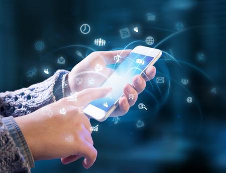 technology: multitasking v rukou Reklamní fotografie