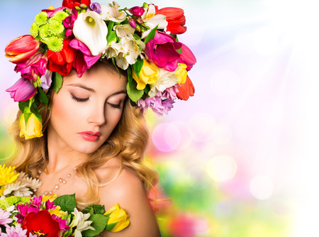 booked: Spring portra Beauty hairstyle with flowers
