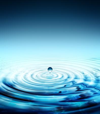 pure water drop splashing in water rippled Stock Photo