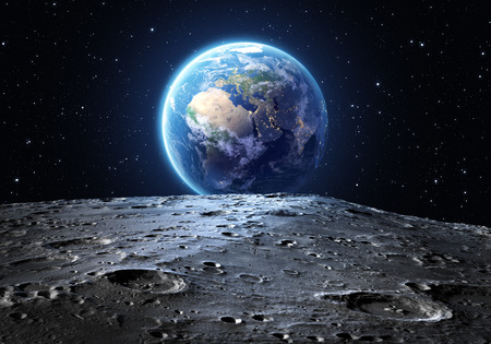 landing: blue earth seen from the moon surface Stock Photo