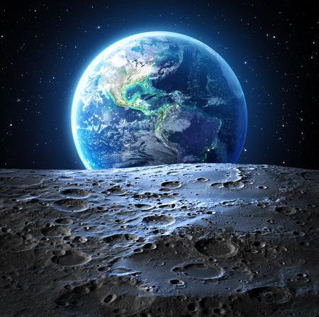 noche y luna: vista la tierra azul de la superficie de la luna Usa