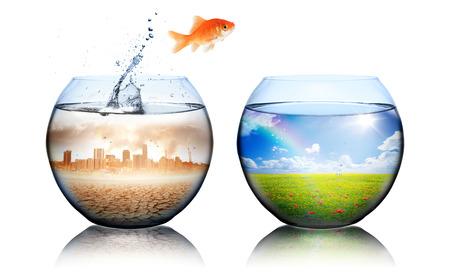 Global Warming Concept goudvis sprong van vervuiling naar groen