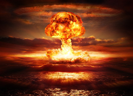 explode: explosion nuclear bomb in ocean Stock Photo