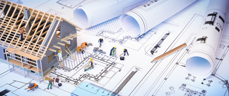 building tool: house under construction on blueprints  building project Stock Photo