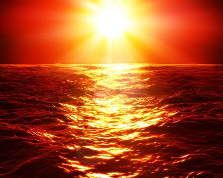 granola: puesta de sol rojo sobre el mar