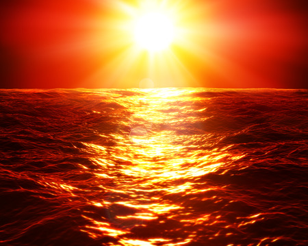 red wave: red sunset over sea Stock Photo