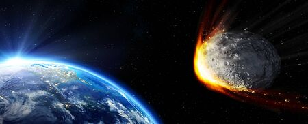 impact: Impact Earth  meteor in route collision Stock Photo